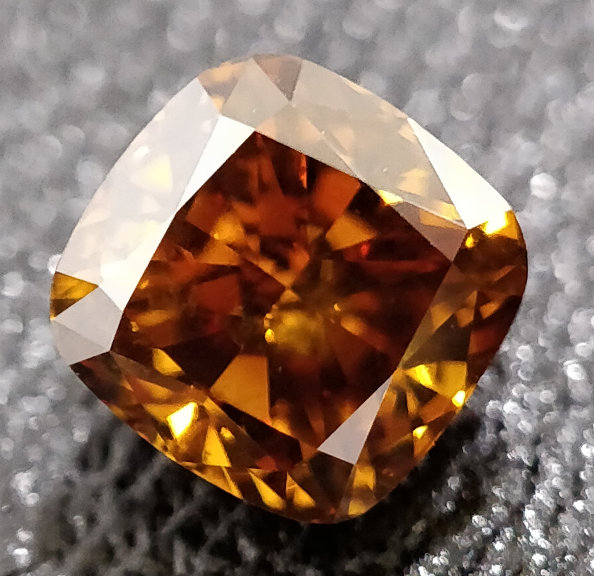 Cushion Cut 0.770 Carat Orange Color Si2 Clarity Sku 1325906937