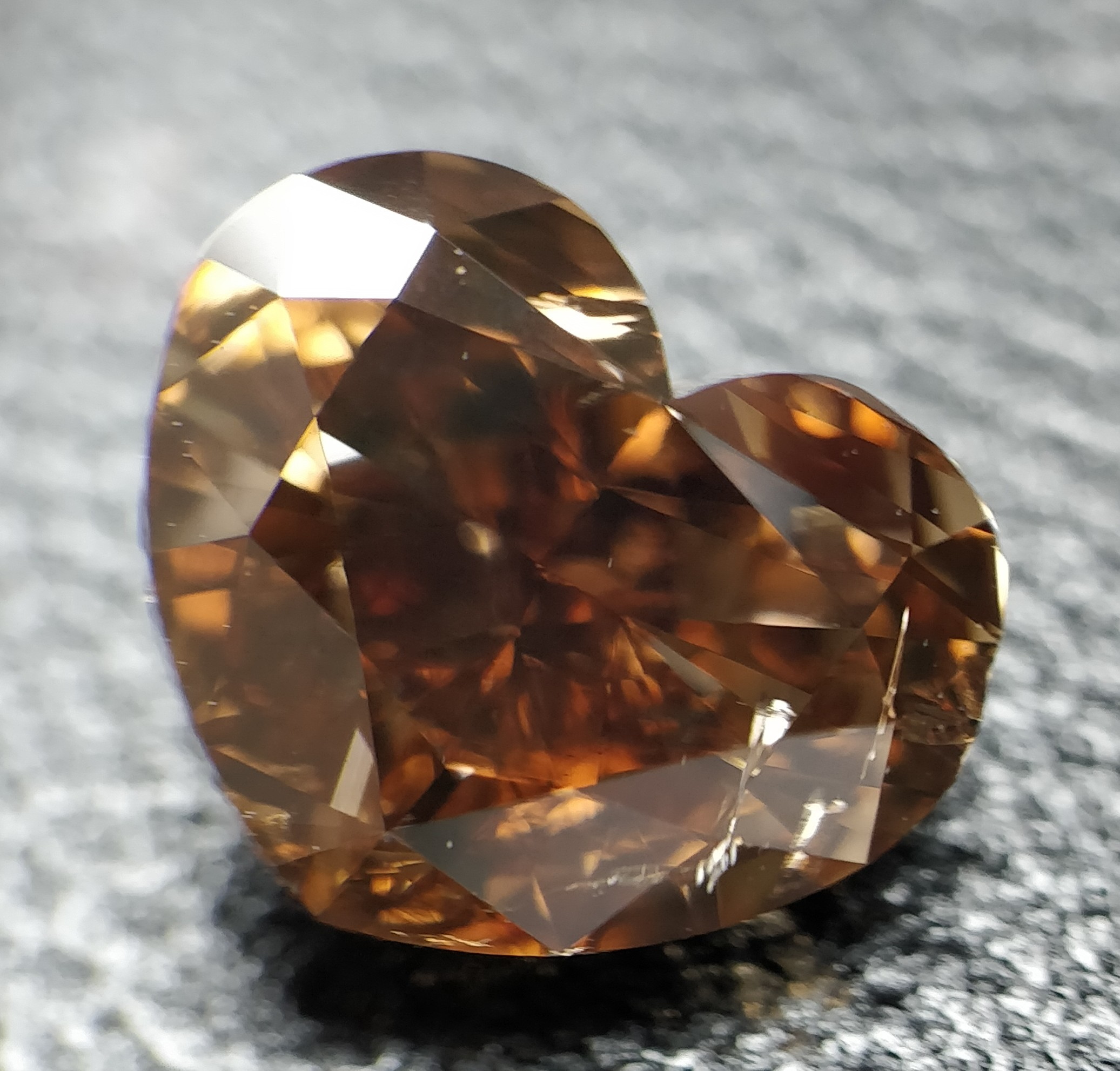 Heart Cut 3.010 Carat Orange Color I1 Clarity Sku 1777135428